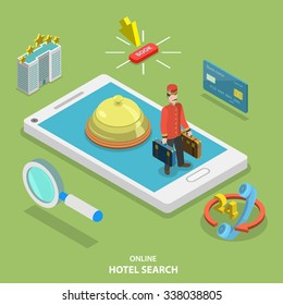 Hotel search online flat isometric vector concept. Online ticket reservation. Room booking service.