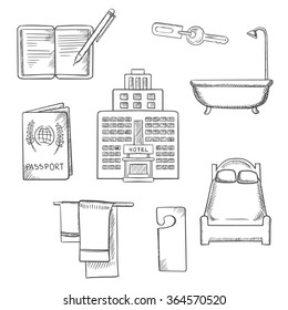 Hotel service concept sketch design with apartment icons as bed, room key, not disturb sign, towels, bathroom, hotel building, passport and notebook,