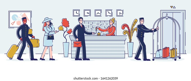 Hotel Service Concept. Visitors In The Queue. Receptionist Gives The Keys From Apartments To The Guest. Porters Help With Luggage. Cartoon Outline Linear Flat Vector illustration