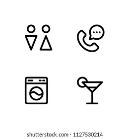 Hotel service customers relief. Set outline icon EPS 10 vector format. Professional pixel perfect black & white icons optimized for both large and small resolutions. Transparent background.