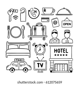 Hotel service doodle icons. Hand drawn hotel illustrations vector symbols