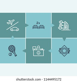 Hotel service icon set and reception with airport transfer, restaurant and double bed. Cafe related hotel service icon vector for web UI logo design.