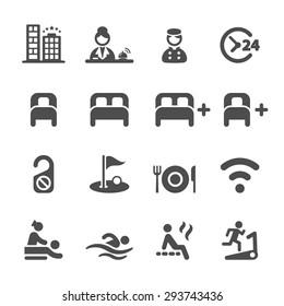 hotel service icon set, vector eps 10.