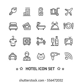 Hotel Service Icon Thin Line Set Pixel Perfect Art. Material Design for Web and App. Vector illustration