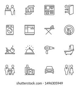 Hotel service line icons set. linear style symbols collection, outline signs pack. vector graphics. Set includes icons as laundromat, reception, restaurant, gym, shower, toilet, food tray, family room