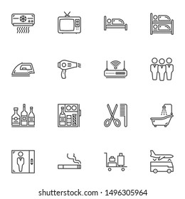 Hotel service line icons set. linear style symbols collection, outline signs pack. vector graphics. Set includes icons as air conditioner, tv, bed, iron, hair dryer, wifi, alcoholic bar, elevator