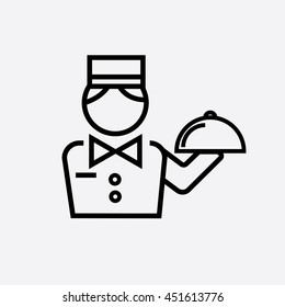 Hotel service outline icon. The waiter holds a dish outline icon.