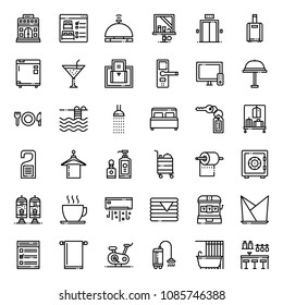 Hotel Service outline icons, isolated on white background