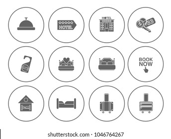Hotel service set - travel sign and symbols - vacation icons