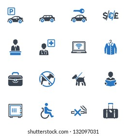 Hotel Services & Facilities Icons Set 1 - Blue Series