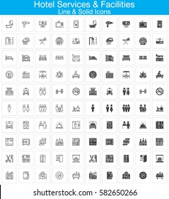Hotel services and facilities line and solid icons set, outline and filled vector symbol collection, linear and full signs pack. Set includes icons as hotel, bed, reception, safe, tv, pool, key, map