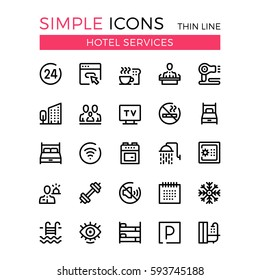 Hotel services and hotel facilities vector thin line icons set. 32x32 px. Modern line graphic design concepts for website, web design, mobile app, infographics. Pixel perfect vector outline icons set