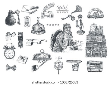 Hotel Services and Facilities. Vintage Art Deco vector lineart engraving set. Hotel porter. Key and reception bell, travel luggage,  handles, old cellphone, alarm clock, lift button, radio