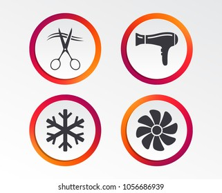 Hotel services icons. Air conditioning, Hairdryer and Ventilation in room signs. Climate control. Hairdresser or barbershop symbol. Infographic design buttons. Circle templates. Vector