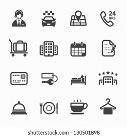 Hotel and Hotel Services Icons with White Background