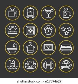 Hotel services. Line icon set.