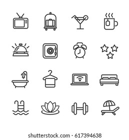 Hotel services. Line icon set.