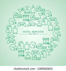 Hotel Services minimal icon set : Vector Illustration