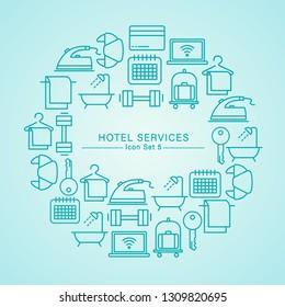 Hotel Services minimal icon set : Vector Illustration