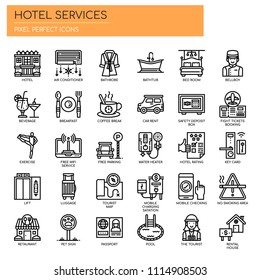 Hotel Services , Thin Line and Pixel Perfect Icons