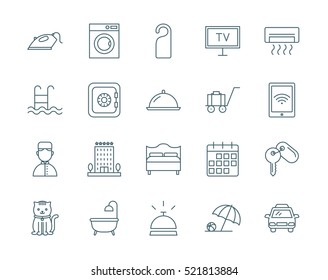 Hotel set of vector icons