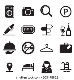 Hotel silhouette icons  illustration symbol Vector