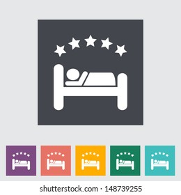 Hotel single flat icon. Vector illustration.