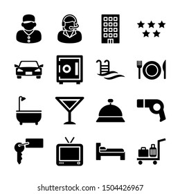 hotel solid icons vector design