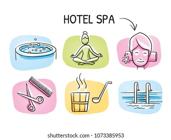 Hotel spa icon set, with sauna, facial treatment, yoga wellness, swimming pool, jacuzzi and hair stylist. Hand drawn cartoon sketch vector illustration, marker style coloring on tiles.