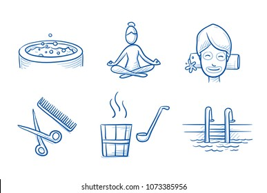 Hotel spa icon set, with sauna, facial treatment, yoga wellness, swimming pool, jacuzzi and hair stylist. Hand drawn line art cartoon vector illustration.