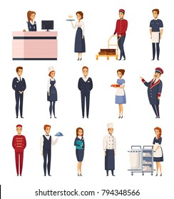 Hotel staff cartoon set of isolated icons representing bellboy maid doorman receptionist bellman chef concierge waiter vector illustration