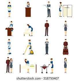 Hotel staff flat icons set with maid and waiter characters isolated vector illustration