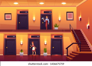Hotel staff housemaid and waiter service clients bringing meal at room and knocking door for cleaning. Hospitality, workers in motel hallway with doors, lamps and stairs. Cartoon vector illustration