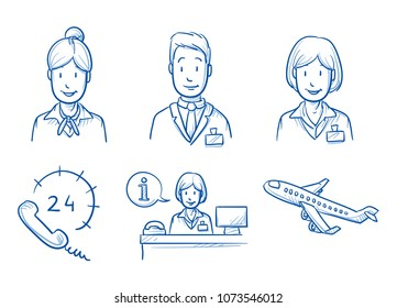 Hotel staff icon set with information desk, stewardess, hotel manager, airplane and 24 hours hotline. Hand drawn doodle vector illustration.