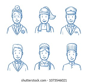 Hotel staff icon set with the proffessions doctor, cook, chambermaid, waiter, gym instructor, driver. Hand drawn doodle vector illustration.