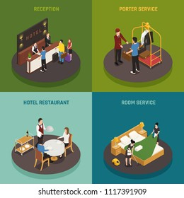 Hotel staff isometric design concept with reception porter restaurant and room service isolated vector illustration