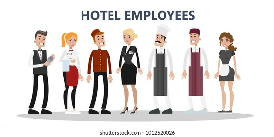 Hotel staff set. Maids and cleaning service, chef and receptionist.