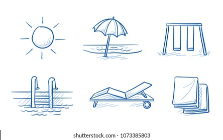 Hotel summer vacation icon set, with beach, sunbed, towels, swimming pool, sun and playground. Hand drawn line art cartoon vector illustration.