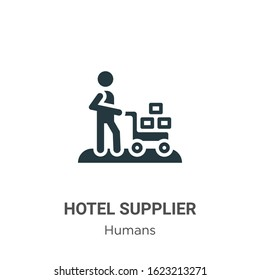 Hotel supplier glyph icon vector on white background. Flat vector hotel supplier icon symbol sign from modern humans collection for mobile concept and web apps design.