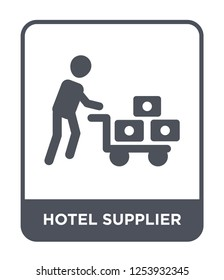 hotel supplier icon vector on white background, hotel supplier trendy filled icons from Humans collection, hotel supplier simple element illustration