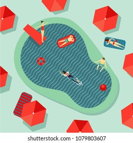 Hotel swimming pool top view with people on a rest. Men and women bathe and sunbathe. Flat vector illustration.