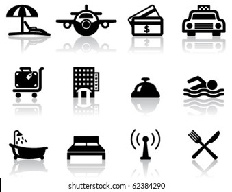 Hotel and travel black icons set