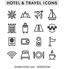 Hotel and travel icons set.