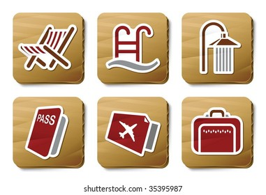 Hotel and Travel icons. Vector icon set. Three color icons on cardboard tags.