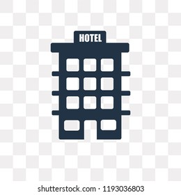Hotel vector icon isolated on transparent background, Hotel transparency concept can be used web and mobile