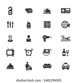 Hotel vector icons on white background