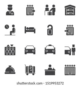 Hotel vector icons set, modern solid symbol collection, filled style pictogram pack. Signs, logo illustration. Set includes icons as reception service, five star hotel rating, car parking, elevator