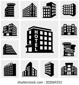 Hotel vector icons set on gray.