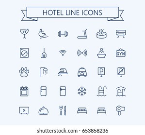 Hotel vector icons set. Thin line outline 24x24 Grid.Pixel Perfect