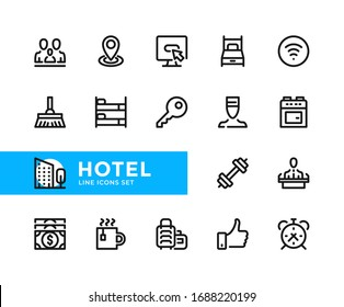 Hotel vector line icons. Simple set of outline symbols, graphic design elements. Line icons
